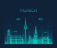 Munich skyline vector illustration linear style. Munich skyline detailed silhouette Trendy vector illustration linear style Stock Images