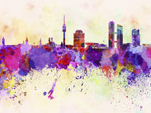 Munich skyline in watercolor background Royalty Free Stock Image