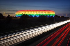 Munich Stadium rainbow colored for CSD 2016 Royalty Free Stock Image