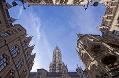 Munich stadshus, gården arkivfoton