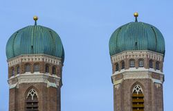 Munich symbols. Towers of Cathedral Church of Our Lady (Frauenkirche) from Munich, Germany Stock Images