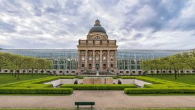 Munich time lapse. Time lapse at Munich Bavarian State Chancellery Bayerische Staatskanzlei, Munich, Germany stock video footage