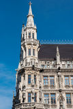 Munich town hall detail in the sun against blue sky Stock Photography