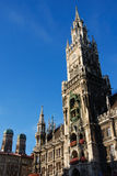 Munich town hall frauenkirche. Town hall with frauenkirche, two landmarks of munich, germany Stock Photos