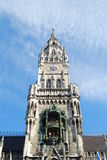 Munich Town Hall Glockenspiel. Munich Town Hall was built between 1867 and 1908 by Georg von Hauberrisser in a Gothic Revival architectural style. It's main fa royalty free stock photo