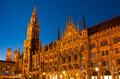 Munich Town Hall at night Stock Photo