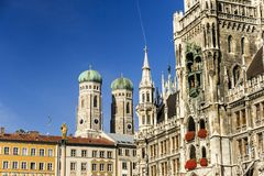 Marienkirche and Townhall Square in Munich, Germany Stock Photos