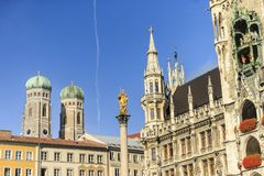 Marienkirche and Townhall Square in Munich, Germany Royalty Free Stock Photography