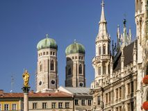Marienkirche and Townhall Square in Munich, Germany Stock Image