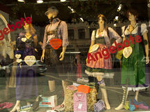 Munich, traditional costumes in a window shop Stock Photos