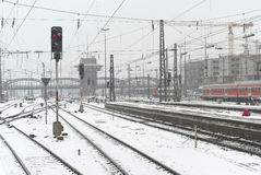 Munich Train Station in the Snow Stock Photography