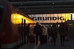 Munich Tyskland 27 Augusti 2014: MÃ-¼ nchen centralstationen Royaltyfria Foton