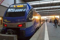 Munich Tyskland 27 Augusti 2014: MÃ-¼ nchen centralstationen Arkivfoto
