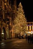 MUNICH TYSKLAND - DECEMBER 25, 2009: Julgran på nattintelligens Royaltyfri Fotografi