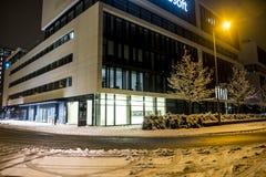 Munich Tyskland - Februari 17 2018: De tyska högkvarteren av Microsoft lokaliseras nästan de Hightlight tornen om arkivfoton