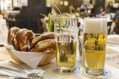 Munich Tyskland - Februari 8, 2019: Klassisk tysk matställe av stekte korvar med bräserad kål på stora vita plattor med ljus royaltyfri foto