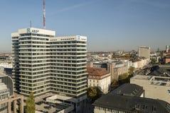 Munich Tyskland 17/10/2017: Högkvarter av den offentliga TV-presentatör ARD/Bayerische Rundfunk i Munich Fotografering för Bildbyråer