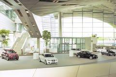 Munich Tyskland juni 17, 2012: BMW Demo Show Stand i BMW Museu Royaltyfria Foton