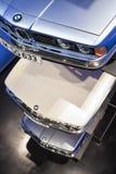 Munich Tyskland juni 17, 2012: Rad av BMW modeller 520, 633 och Fotografering för Bildbyråer