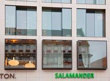 MUNICH TYSKLAND - Juni 26, 2009: Skyltfönstersalamander Gammal buil Arkivbilder