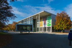 Munich Tyskland - Oktober 20, 2017: Byggnad av Pinakothek der Arkivfoto