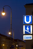 Munich underground / bus signs at night Royalty Free Stock Images