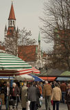 Munich, Viktualien markt on Easter time. Colorful open air market in Munich, Germany, a week before Easter stock image