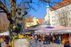 Munich Viktualienmarkt in spring Royalty Free Stock Photography