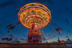 Munichs慕尼黑啤酒节链carusel在著名Theresienwiese的 库存照片