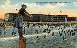 Municipal Baths and Beach, Coney Island Stock Photo
