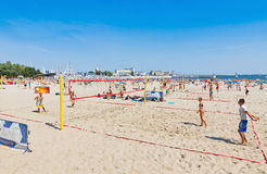 Municipal beach in Gdynia, Baltic sea, Poland Royalty Free Stock Photography