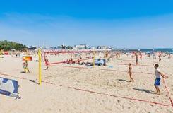Municipal beach in Gdynia, Baltic sea, Poland Royalty Free Stock Photography