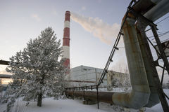 Municipal boiler room in winter. Stock Images