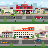 Municipal buildings banner set. Municipal buildings horizontal banner set with fire station and hospital outdoors  vector illustration Stock Photos