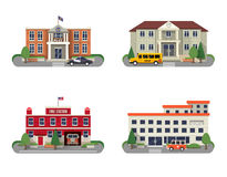 Municipal buildings set. Municipal buildings icons set with police department fire station school and hospital isolated vector illustration Royalty Free Stock Image