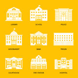 Municipal buildings white icons stock illustration
