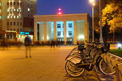 Municipal bycicle parking near metro station Sportivnaya in Moscow Stock Images