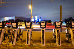 Municipal bycicle parking near metro station Sportivnaya in Moscow Stock Photo