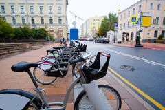 Municipal bycicle parking near Moscow conservatory Stock Photography