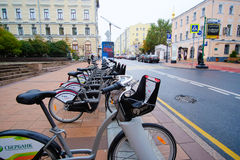 Municipal bycicle parking near Moscow conservatory Royalty Free Stock Photos