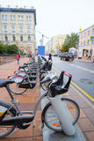 Municipal bycicle parking near Moscow conservatory Stock Image