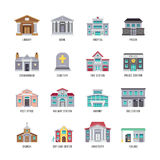 Municipal city buildings library, bank, hospital, prison vector icon set. Building architectural crematorium and cemetery, fire station and police illustration Royalty Free Stock Photo