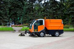 Municipal Cleaning Mashine on the street. Clean up city royalty free stock images