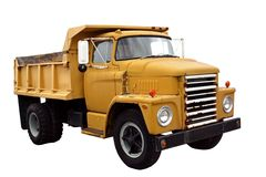 Municipal Dump Truck. This is a picture of a old yellow city dump truck isolated on a white background Royalty Free Stock Photo