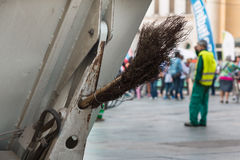 Municipal Dustman Worker with Cleaning Tools in Public Streets Royalty Free Stock Images