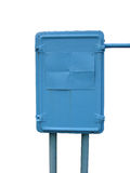 Municipal electrical metal blue enclosure on a white background Stock Image