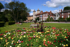 Municipal gardens. Flower gardens brighten up the approach to High Wycombe, Buckinghamshire Stock Photo