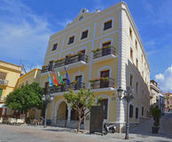Municipal hall in Almunecar - Spain. Panoramic view of the historic central square and municipal hall in Almunecar - Costa Tropical - Spain, Europe Royalty Free Stock Images