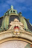 Municipal house architectonic detail, Art Nouveau, Prague, Czech Republic, sunny summer day royalty free stock images