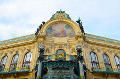 Municipal house facade in city of Prague Royalty Free Stock Images